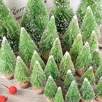 MEJOSER 30 Stück 4 Größen Künstlicher Weihnachtsbaum Miniatur Klein Tisch Christmasbaum Mini Grün Tannenbaum mit Schnee-Effek Mini Weihnachts Baum Dekoration Geschenk Tischdeko, DIY, Schaufenster - 2