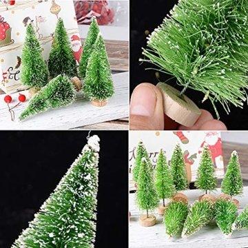 MEJOSER 30 Stück 4 Größen Künstlicher Weihnachtsbaum Miniatur Klein Tisch Christmasbaum Mini Grün Tannenbaum mit Schnee-Effek Mini Weihnachts Baum Dekoration Geschenk Tischdeko, DIY, Schaufenster - 3