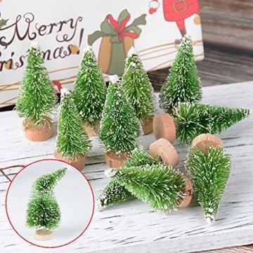 MEJOSER 30 Stück 4 Größen Künstlicher Weihnachtsbaum Miniatur Klein Tisch Christmasbaum Mini Grün Tannenbaum mit Schnee-Effek Mini Weihnachts Baum Dekoration Geschenk Tischdeko, DIY, Schaufenster - 4