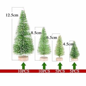 MEJOSER 30 Stück 4 Größen Künstlicher Weihnachtsbaum Miniatur Klein Tisch Christmasbaum Mini Grün Tannenbaum mit Schnee-Effek Mini Weihnachts Baum Dekoration Geschenk Tischdeko, DIY, Schaufenster - 7