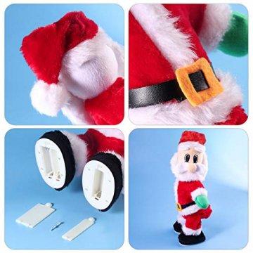 NUOBESTY Weihnachtsmann-Figur, gedreht, singend, elektrisches Spielzeug für Kinder, Weihnachtsdekoration, lustiges Weihnachtsgeschenk (Spanisch) Verschiedene Farben - 3