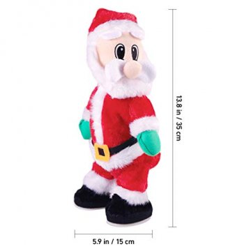 NUOBESTY Weihnachtsmann-Figur, gedreht, singend, elektrisches Spielzeug für Kinder, Weihnachtsdekoration, lustiges Weihnachtsgeschenk (Spanisch) Verschiedene Farben - 5
