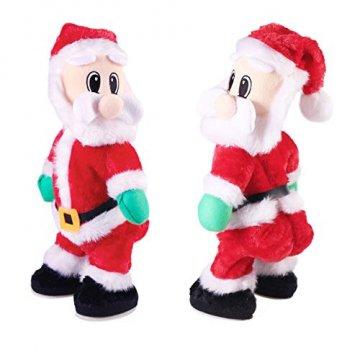 NUOBESTY Weihnachtsmann-Figur, gedreht, singend, elektrisches Spielzeug für Kinder, Weihnachtsdekoration, lustiges Weihnachtsgeschenk (Spanisch) Verschiedene Farben - 7