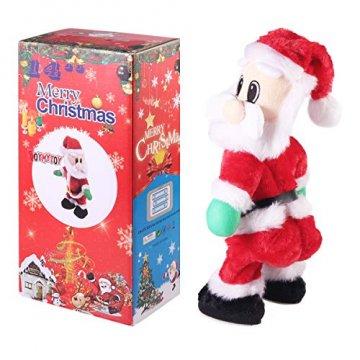NUOBESTY Weihnachtsmann-Figur, gedreht, singend, elektrisches Spielzeug für Kinder, Weihnachtsdekoration, lustiges Weihnachtsgeschenk (Spanisch) Verschiedene Farben - 8