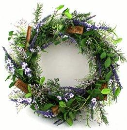 Präsente Shop Blütenkranz Blumenkranz Wandkranz Türkranz Lavendel Rosmarin Kunstpflanzen Ø ca. 36 cm - 1