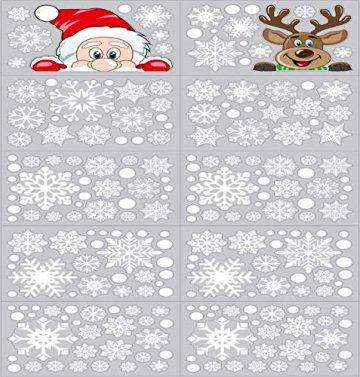 Ptsaying 275 stücke 10 blätter Weihnachten fensterbilder, Weihnachtsmann und Elch Aufkleber, Schneeflocken Fensterbild mit Weihnachtsmann Elk Abnehmbare Weihnachten Aufkleber Fenster - 2