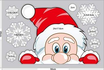 Ptsaying 275 stücke 10 blätter Weihnachten fensterbilder, Weihnachtsmann und Elch Aufkleber, Schneeflocken Fensterbild mit Weihnachtsmann Elk Abnehmbare Weihnachten Aufkleber Fenster - 3