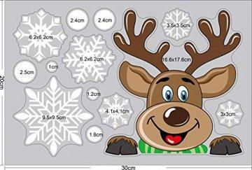 Ptsaying 275 stücke 10 blätter Weihnachten fensterbilder, Weihnachtsmann und Elch Aufkleber, Schneeflocken Fensterbild mit Weihnachtsmann Elk Abnehmbare Weihnachten Aufkleber Fenster - 4