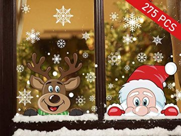Ptsaying 275 stücke 10 blätter Weihnachten fensterbilder, Weihnachtsmann und Elch Aufkleber, Schneeflocken Fensterbild mit Weihnachtsmann Elk Abnehmbare Weihnachten Aufkleber Fenster - 1