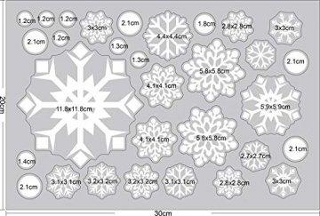 Ptsaying 275 stücke 10 blätter Weihnachten fensterbilder, Weihnachtsmann und Elch Aufkleber, Schneeflocken Fensterbild mit Weihnachtsmann Elk Abnehmbare Weihnachten Aufkleber Fenster - 8