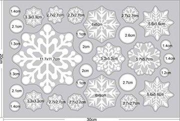Ptsaying 275 stücke 10 blätter Weihnachten fensterbilder, Weihnachtsmann und Elch Aufkleber, Schneeflocken Fensterbild mit Weihnachtsmann Elk Abnehmbare Weihnachten Aufkleber Fenster - 9