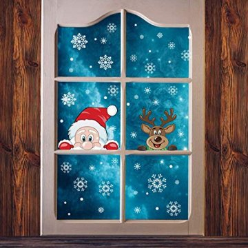 Ptsaying 275 stücke 10 blätter Weihnachten fensterbilder, Weihnachtsmann und Elch Aufkleber, Schneeflocken Fensterbild mit Weihnachtsmann Elk Abnehmbare Weihnachten Aufkleber Fenster - 10