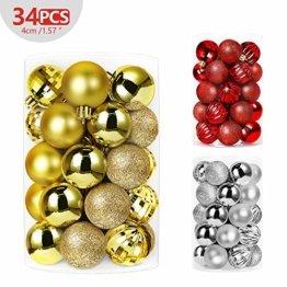 Shareconn 34 Weihnachtskugeln Baumschmuck Weihnachten Deko, Weihnachtsbaum deko Kugeln mit Anhänger Baumschmuck Weihnachten Plastik PVC 4cm 34 Stück/Set, Gold - 1