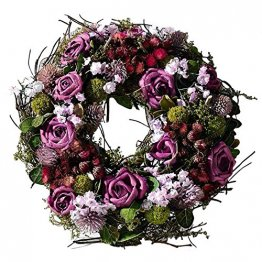 SIDCO Türkranz Rose Blumenkranz Kranz Blütenkranz Wandkranz Tischkranz Dekokranz lila - 1