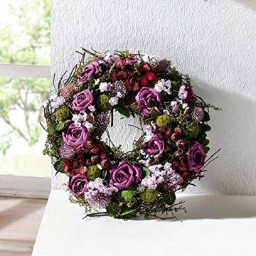 SIDCO Türkranz Rose Blumenkranz Kranz Blütenkranz Wandkranz Tischkranz Dekokranz lila - 6