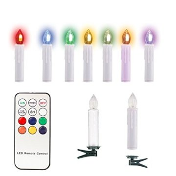 SunJas 10/20/30 er Weihnachten Kerzen RGB, kabellose Farbwechsel Weihnachtskerzen mit Fernbedienung, Weihnachtsbeleuchtung, LED Kerzen in 3 verscheidene Blinkeffekt, für Weihnachtsbaum - 5