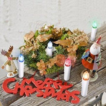SunJas 10/20/30 er Weihnachten Kerzen RGB, kabellose Farbwechsel Weihnachtskerzen mit Fernbedienung, Weihnachtsbeleuchtung, LED Kerzen in 3 verscheidene Blinkeffekt, für Weihnachtsbaum - 6