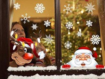 Tuopuda Weihnachten Schneeflocken Fenster Deko Weihnachtsmann Elch Stick 42 Schneeflocken Aufkleber Statisch Fensterbilder - 1