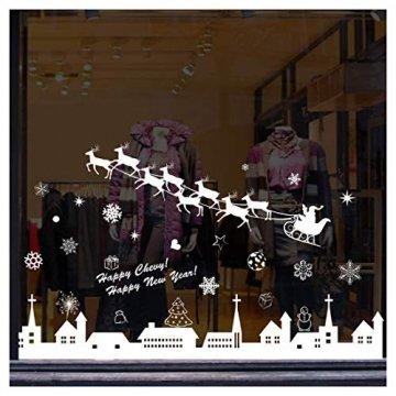 Tuopuda Weihnachtssticker Weihnachten Rentier Schneeflocken Stadt Removable Vinyl Fensterbilder Fensterdeko Weihnachtsdeko Weihnachten Wandaufkleber Wandtattoo Wandsticker (weiß) - 2