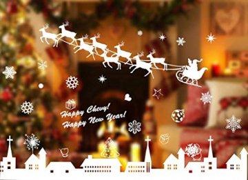Tuopuda Weihnachtssticker Weihnachten Rentier Schneeflocken Stadt Removable Vinyl Fensterbilder Fensterdeko Weihnachtsdeko Weihnachten Wandaufkleber Wandtattoo Wandsticker (weiß) - 3