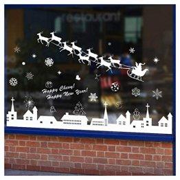 Tuopuda Weihnachtssticker Weihnachten Rentier Schneeflocken Stadt Removable Vinyl Fensterbilder Fensterdeko Weihnachtsdeko Weihnachten Wandaufkleber Wandtattoo Wandsticker (weiß) - 1