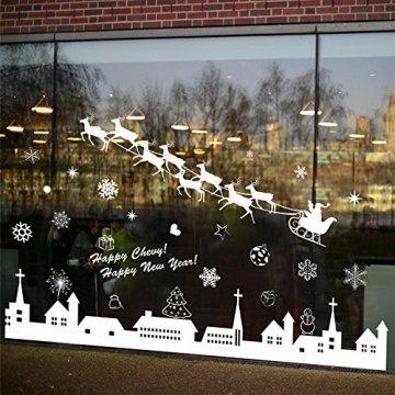 Tuopuda Weihnachtssticker Weihnachten Rentier Schneeflocken Stadt Removable Vinyl Fensterbilder Fensterdeko Weihnachtsdeko Weihnachten Wandaufkleber Wandtattoo Wandsticker (weiß) - 5