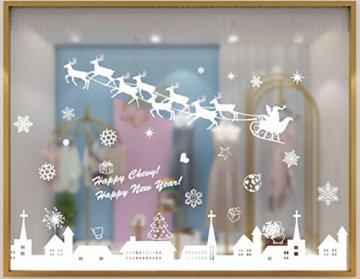 Tuopuda Weihnachtssticker Weihnachten Rentier Schneeflocken Stadt Removable Vinyl Fensterbilder Fensterdeko Weihnachtsdeko Weihnachten Wandaufkleber Wandtattoo Wandsticker (weiß) - 6