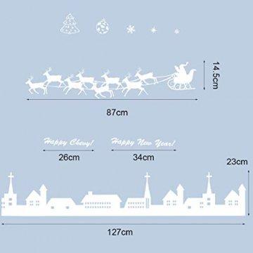 Tuopuda Weihnachtssticker Weihnachten Rentier Schneeflocken Stadt Removable Vinyl Fensterbilder Fensterdeko Weihnachtsdeko Weihnachten Wandaufkleber Wandtattoo Wandsticker (weiß) - 7