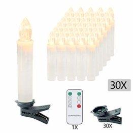 VINGO 30er LED Weihnachtskerzen mit Fernbedienung Kabellos Warmweiß Kerzen Dimmbar Christbaumkerzen für Weihnachtsbaum,Christbaumsdeko - 1