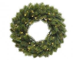 Weihnachtlicher & Hochwertiger LED Tannenkranz/Klassischer Türkranz Beleuchtet - Ø 40cm - Batteriebetrieben - Weihnachtskranz/Hängekranz / Tischkranz - Künstlicher Kranz Tanne - Weihnachten - 1