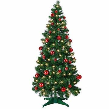 Weihnachtsbaum 150 cm Ständer LED Lichterkette Pop Up künstlicher Tannenbaum Christbaum Baum Tanne Weihnachten Grün PVC - 4