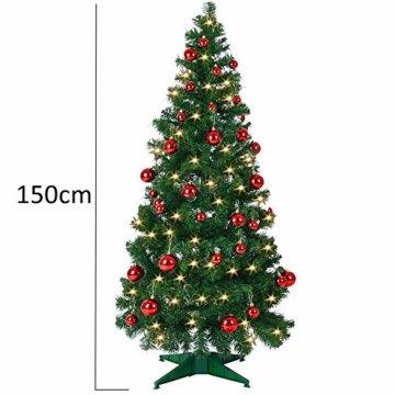 Weihnachtsbaum 150 cm Ständer LED Lichterkette Pop Up künstlicher Tannenbaum Christbaum Baum Tanne Weihnachten Grün PVC - 6