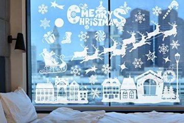 Weihnachtsdeko Fenster, Weihnachten Fensterbilder, Weihnachten Fenstersticker Fensteraufkleber PVC Fensterdeko Selbstklebend, für Türen Schaufenster Vitrinen Glasfronten Deko - 4