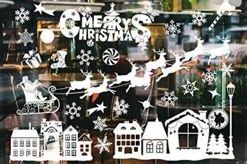 Weihnachtsdeko Fenster, Weihnachten Fensterbilder, Weihnachten Fenstersticker Fensteraufkleber PVC Fensterdeko Selbstklebend, für Türen Schaufenster Vitrinen Glasfronten Deko - 6