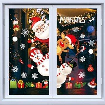 Weihnachtsdeko Fenster, Weihnachten Fensterbilder, Weihnachten Fenstersticker Fensteraufkleber PVC Fensterdeko Selbstklebend, für Türen Schaufenster Vitrinen Glasfronten Deko - 1