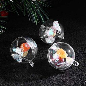 WINOMO 10 x Weihnachtskugeln Transparent Kugel zum Befüllen mit Aufhängeöse 4CM - 4