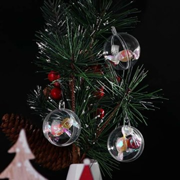 WINOMO 10 x Weihnachtskugeln Transparent Kugel zum Befüllen mit Aufhängeöse 4CM - 7