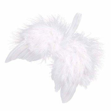 10 St. Engelsflügel Federn Flügel Engel Anhänger Weihnachten Christbaumschmuck Baby Taufe Deko DIY Basteln Kinder 16cm Weiß - 1