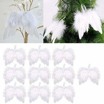 10 St. Engelsflügel Federn Flügel Engel Anhänger Weihnachten Christbaumschmuck Baby Taufe Deko DIY Basteln Kinder 16cm Weiß - 5