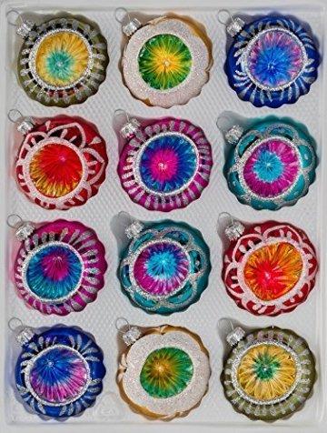 12 TLG. Glas-Weihnachtskugeln Set in Hochglanz Vintage Style Christbaumkugeln - Weihnachtsschmuck-Christbaumschmuck-Reflektorkugeln-Reflexkugeln-Reflector Ball - 1
