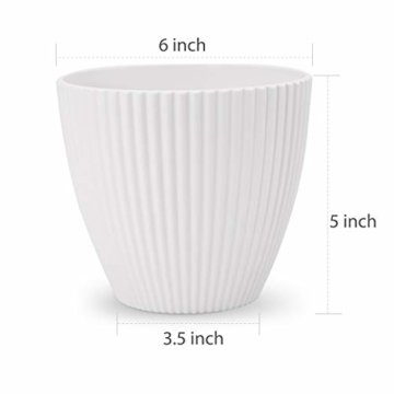 15,2 cm Kunststoff-Blumentöpfe für den Innenbereich, Set von 5 modernen dekorativen Gartenbehältern für Sukkulenten, Blumen, Kräuter, Kaktus, Haus und Büro Dekor Modern 01-weiß - 2