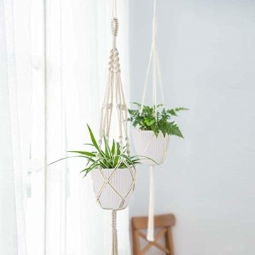 15,2 cm Kunststoff-Blumentöpfe für den Innenbereich, Set von 5 modernen dekorativen Gartenbehältern für Sukkulenten, Blumen, Kräuter, Kaktus, Haus und Büro Dekor Modern 01-weiß - 3
