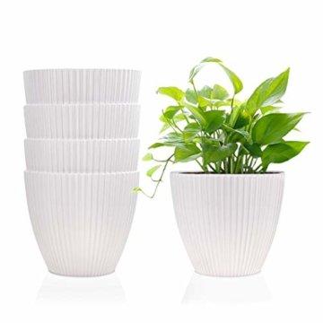 15,2 cm Kunststoff-Blumentöpfe für den Innenbereich, Set von 5 modernen dekorativen Gartenbehältern für Sukkulenten, Blumen, Kräuter, Kaktus, Haus und Büro Dekor Modern 01-weiß - 1