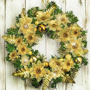 24 Stück Glitter Poinsettia Weihnachtsbaum Ornament Weihnachten Blumen Dekor Ornament (Gold) - 2