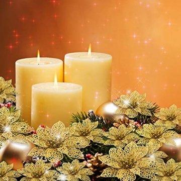 24 Stück Glitter Poinsettia Weihnachtsbaum Ornament Weihnachten Blumen Dekor Ornament (Gold) - 3