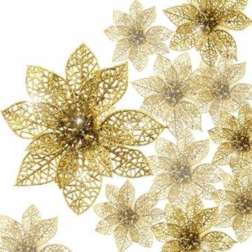 24 Stück Glitter Poinsettia Weihnachtsbaum Ornament Weihnachten Blumen Dekor Ornament (Gold) - 1