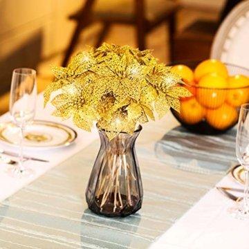 24 Stück Glitter Poinsettia Weihnachtsbaum Ornament Weihnachten Blumen Dekor Ornament (Gold) - 5