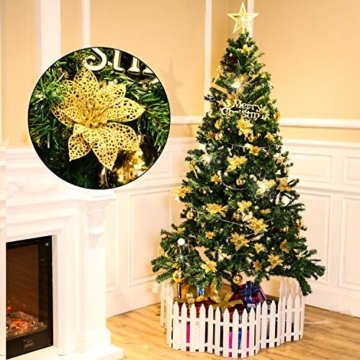 24 Stück Glitter Poinsettia Weihnachtsbaum Ornament Weihnachten Blumen Dekor Ornament (Gold) - 6