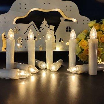 30 LED Kerzen, Weihnachtskerzen Lichterkette, Weihnachts Kerzen Kabellos mit Fernbedienung,Dimmbar Kerzenlichter Flammenlose Weihnachtskerzen für Weihnachtsbaum, Weihnachtsdeko, Hochzeit, Party - 3