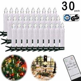 30 LED Kerzen, Weihnachtskerzen Lichterkette, Weihnachts Kerzen Kabellos mit Fernbedienung,Dimmbar Kerzenlichter Flammenlose Weihnachtskerzen für Weihnachtsbaum, Weihnachtsdeko, Hochzeit, Party - 1